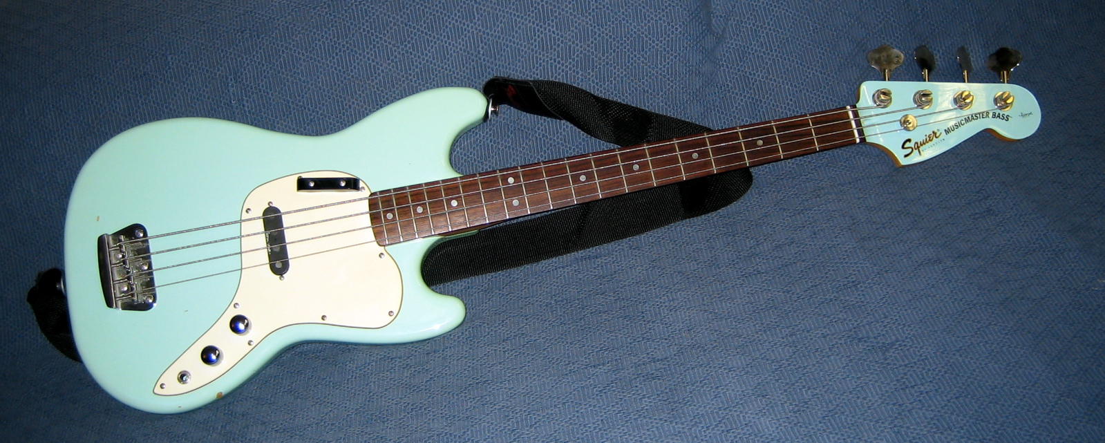 The Squier Musicmaster bass