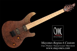 Mayones Regius 6 Claro Walnut Custom Shop Natural Wood Matt finish