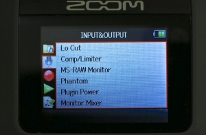 Zoom H6 – menu view